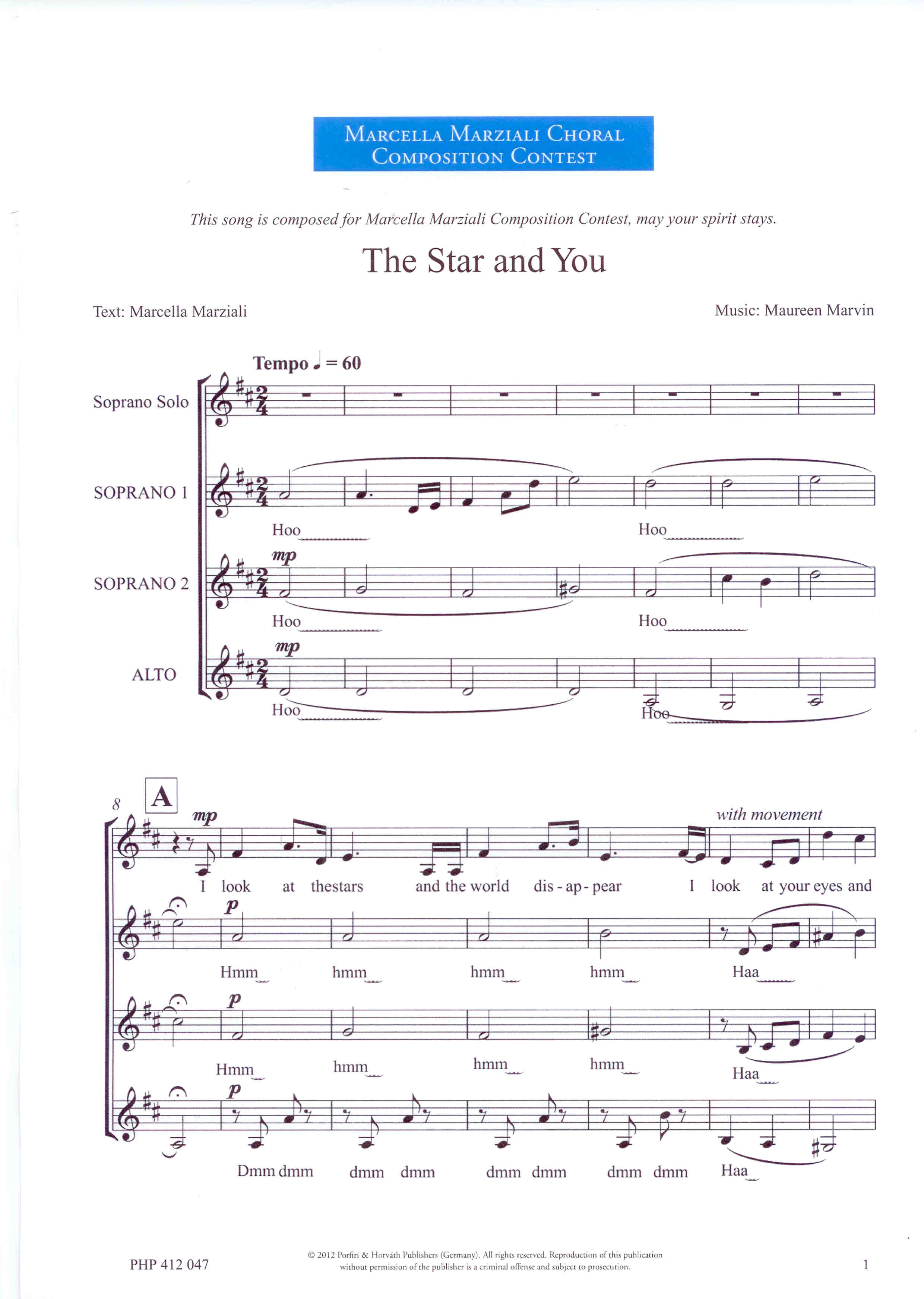 The Star and You - Show sample score